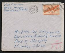 50c Transport solo use on cover from Michigan to Hunan China Nov. 1948