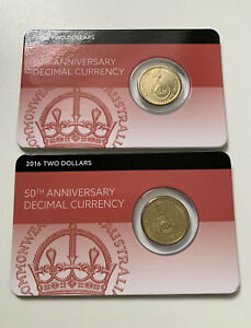 🔴2016 $2 Dollar UNC Coin Pack Downies 1xCarded - Changeover Decimal Currency ⚡️