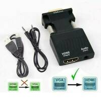 VGA INPUT to HDMI OUTPUT Video Audio Converter Cable Adapter 1080 For TV PC DVD.