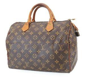 Authentic LOUIS VUITTON Speedy 30 Monogram Boston Handbag Purse #39912