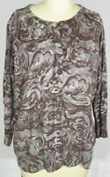 TALBOTS Size 1XP 1X Petite Cotton Merino Wool Brown Gray Floral Cardigan Sweater