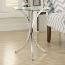 Contemporary Glass End Table Furniture Modern Accent Side Round Chrome Clear New