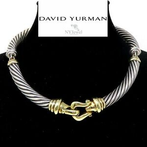 NYJEWEL David Yurman 14K Gold 925 Silver Tourmaline Buckle Choker Necklace