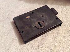 VICTORIAN IRON AND BRASS DOOR RIM LOCK 15cms x 10cms.