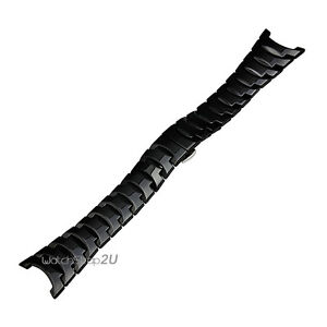 Black Ceramic WatchBand Strap Silver Stainless Steel Deployant Clasp 13 15 24mm