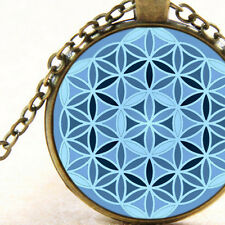 New Flower of Life, Blue, Male Energy Pendant Necklace, Sacred Geometry Circles