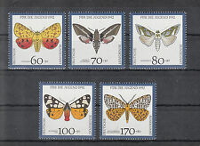 6022 ) Germany 1992 ** / MNH  Moths,Insects,Nature,Welfare of 5 beautiful Stamps