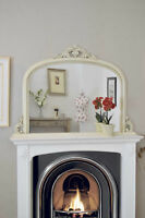 Large Ivory Crackle Shabby Chic Overmantle Arched Wood Mirror 127cm X 91cm
