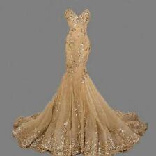 Vestidos De Novia Gold Mermaid Wedding Dress 2017 New Appliques Lace Bridal Gown