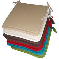 Dining Garden Chair Zip Removable Cushion Seat Pads Ties Set Of 1 - 2 - 4 - 6