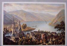 """Zeichnung und Aquatinta-Stich  Bingen """"Mit Ansicht auf den Rhein"""" v. J.H. Tanner"""