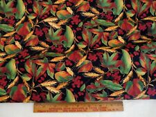 Blank Quilting Cotton Fabric #5899 Fall Leaf Berry Russet Red Green Quilt Bthy
