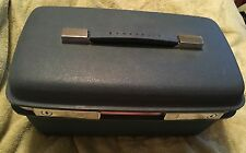 Samsonite Vintage Blue Travel Carry On Makeup Luggage Train Case Mirror