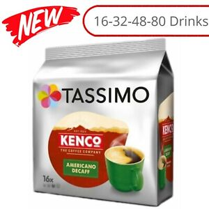 TASSIMO Kenco Americano Decaf Coffee T Discs Pods 16/32/48/80 Drinks Home Office