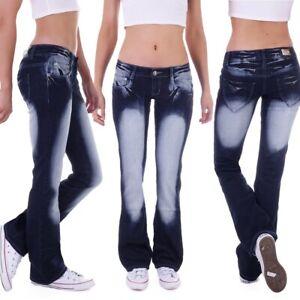 Damen Flared Schlaghose Schlagjeans Bootcut Hose Hüftjeans Blau Low Jeans D5