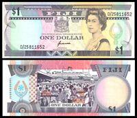 FIJI 1 $ DOLLAR ND 1993 P 89 QE II SUPERB GEM UNC/ QE II