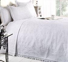 Dorchester Mafalda Portuguese Style Soft Cotton Bedspread White 240 X 260 Cm
