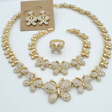 14K Gold Plated Butterfly Crystals Heart Set - Necklace Bracelet Earrings & Ring