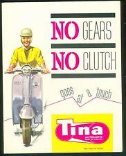 Triumph Tina Scooter Brochure Poster catalogue  1963 Original