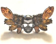 Amber Rhinestone Skull Double 2 Two Finger Knuckle adj Cocktail Rng gun metal