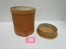 "NATIVE AMERICAN HANDMADE BIRCH BARK BASKETS 4"" TALL VARYING WIDTHS WITH LIDS"