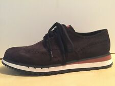 NEW Men's Prada Sport Brown Suede Lace up Sneaker Shoe US 10.5 EU 9.5