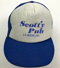 VINTAGE Scott'y Pub Trucker Hat Cap Blue Snapback Adjustable 90s La Mesa CA Mens