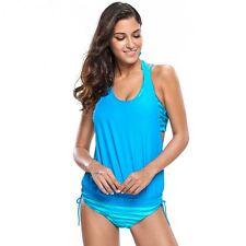 Costume Da Bagno Top Righe Stampato 2 Pezzi Striped Tankini Swimwear Swimsuit S