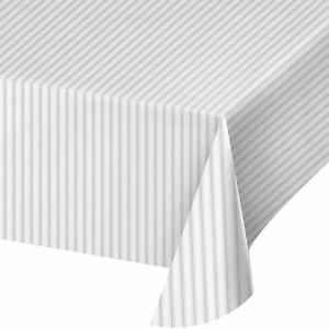 Gray Ticking Stripe Modern Solid Color Theme Party Decoration Plastic Tablecover