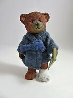 Vintage RUSS Plastic Jointed Get Well Bear With Crutch & Bandaged Foot