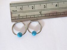 2 Surgical Steel Turquoise Stone Conch Daith Helix Hoops Rings 16 gauge 3/8 inch
