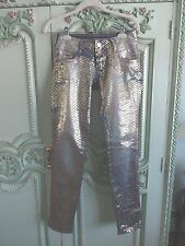 COLCCI PM   JEANS SIZE 2  ,SEXY  DENIM WITH GOLD ALL OVER, SKINNY LEGS,CLUBWEAR