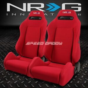 2 X NRG TYPE-R FULLY RECLINABLE RACING SEAT/SEATS+ADJUSTABLE SLIDER RED+STITCHES