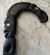 Antique New Zealand Maori Tribal Carved Cane Roturua Paua Shell Tiki Teko