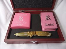 4 Bridesmaid Gift Sets, Flask, Golden Knife, Manicure Set, Maid of Honor Gift