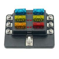12/24V KFZ Auto Boot Sicherungshalter Sicherungsdose Sicherungskasten 6-fach kit