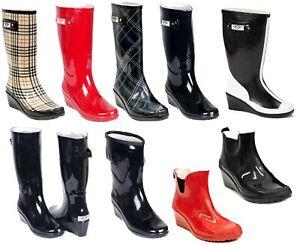 Women's Wedge Rubber Rain Boots - Mid-Calf Waterproof Ladies Wellies * NEW