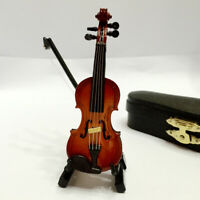 Dollhouse Miniature Musical Instrument Wooden Violin w/ Case Stand 1/12