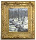 Fine Vintage EDITH MONTLACK New York Oil Painting FOREST STREAM Winter Scene