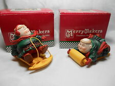 Dept 56 Merry Makers Solomon the Sledder and Thaddeus the Tobogganist