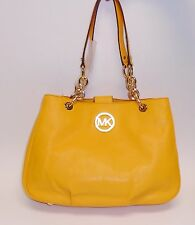 NEW MICHAEL KORS FULTON CHAIN VINTAGE YELLOW LEATHER MD TOTE,SHOULDER BAG PURSE