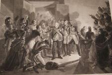 LOUIS XVIII QUITTE LE PALAIS DES TUILERIES GRAVURE 1815 VERSAILLES R1713