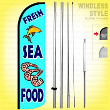 FRESH SEAFOOD - Windless Swooper Flag Kit 15' Feather Banner Sign  bq113-h