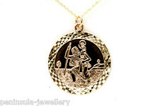 """9ct Gold 22mm St Christopher Pendant and 18"""" Chain Hallmarked Gift boxed"""