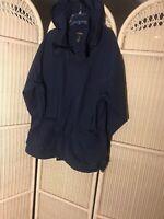 LL Bean Outdoors Mens Drawstring Hoodie Jacket Full Zip WaterResistant Coat XL