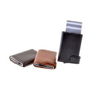MOLALA Leather Wallet Card Holder Aluminum Case RFID Blocking and Slide Pop Up