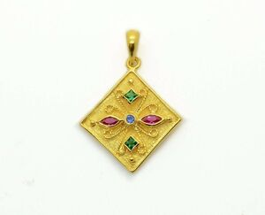 Etruscan Pendant Antique Style Ruby Yellow Gold Plated Multistone Women Silver
