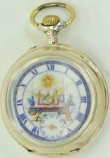 Rare antique silver Systeme Glashutte Masonic pocket watch c1890's.Fancy dial