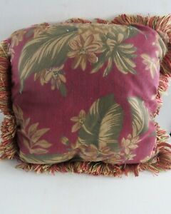 Vintage Plush Decorative Couch or BED throw Pillow~ Red & Brown