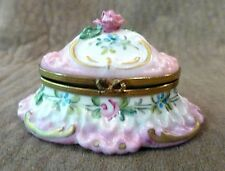 PEINT MAIN LIMOGES FRANCE TRINKET BOX - FLORAL DESIGN
